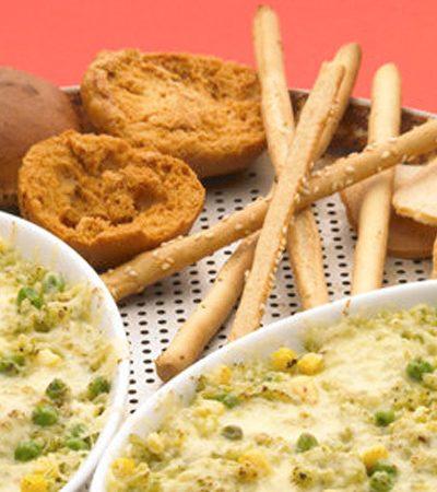 Arroz verde con queso gratinado