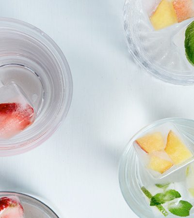bebida refrescante para el recreo: cubos de hielos con frutas