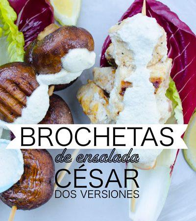 Brochetas de ensalada César dos versiones