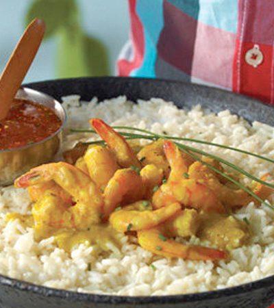 Camarones con arroz al curry