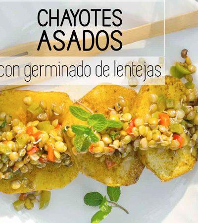 Chayotes asados con germinado de lenteja
