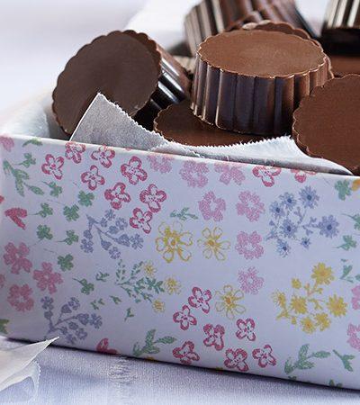 Dulces de chocolate rellenos de frambuesa