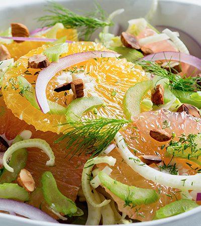 Ensalada de naranja con hinojo y almendras