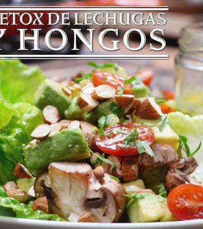 ensalada detox de lechugas y hongos