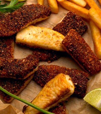 Filete de pescado con costra de tortilla