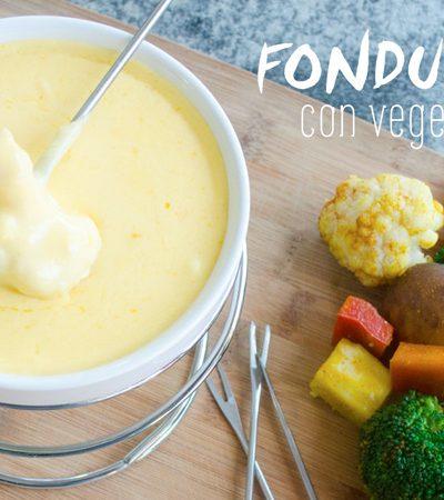 Fondue de queso con vegetales a la parrilla