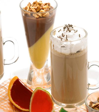 Gelatina de crema de avellana, chocolate y rompope