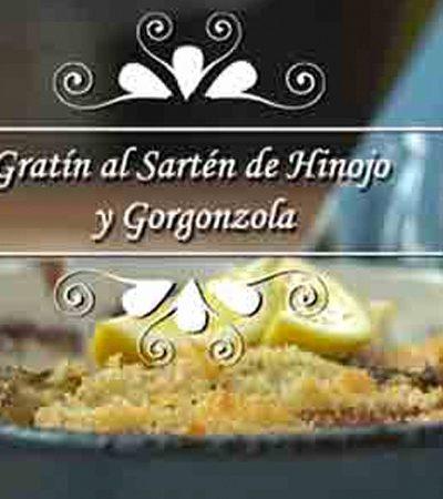 Gratín al sartén de hinojo y gorgonzola