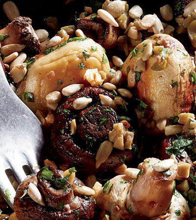 hongos al horno con semillas de girasol y alcapa