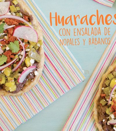 Huaraches con ensalada de nopales y rábanos