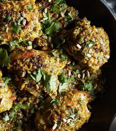 Muslitos de pollo con ajo y limón con arroz de coliflor