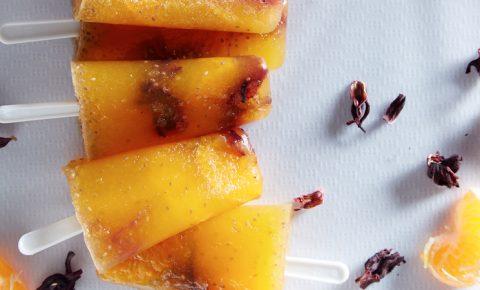 Paletas de Mandarina Chía y Jamaica