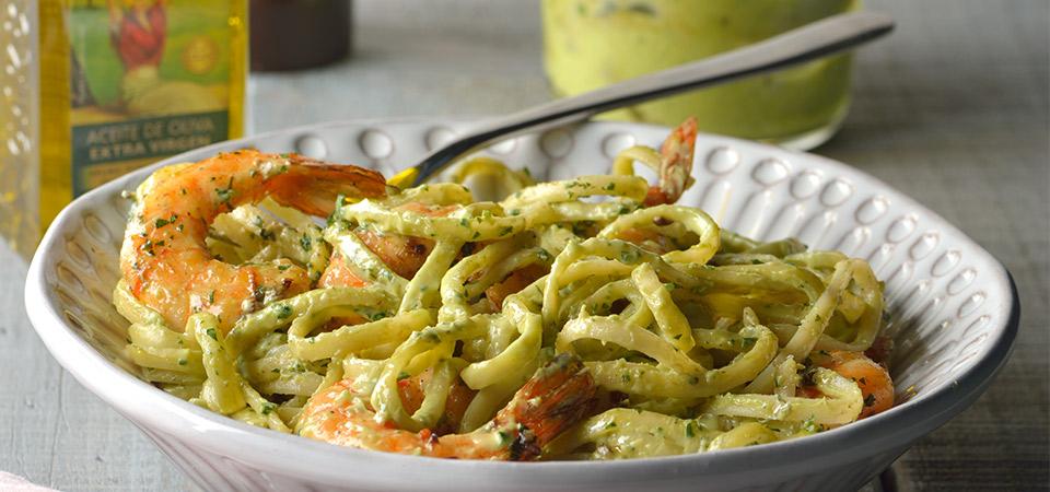 Pasta con camarones y f cil salsa de aguacate chef oropeza - Comida para navidad facil ...