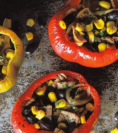 Pimientos rellenos con res al horno