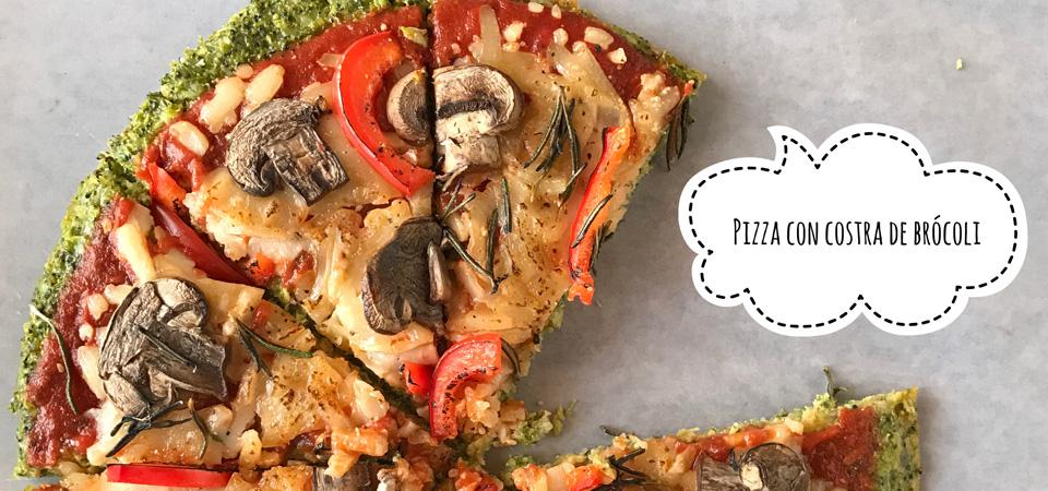 Pizza con costra de brócoli