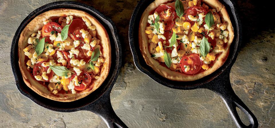 Pizza de vegetales al sartén