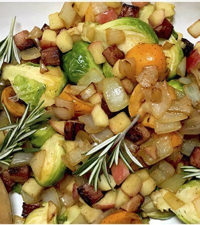 relleno de coles de bruselas tocino y manzana