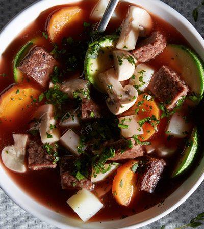sopa francesa de res y vegetales