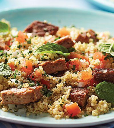 Tabbouleh de quinoa con res a la parrila