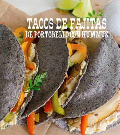 Tacos de Fajitas de Portobello con Hummus