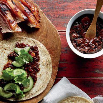 tacos de pato con salsa de ciruela