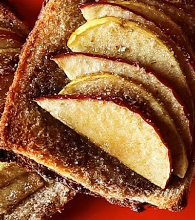 tartas de pan de caja con crema de chocolate y manzanas