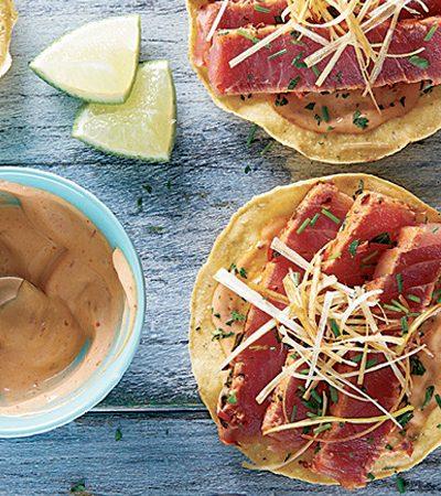 tostadas de atun con poro