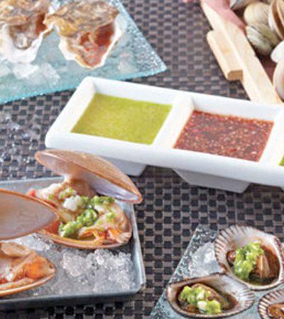 Trio de conchas frescas y sus salsas