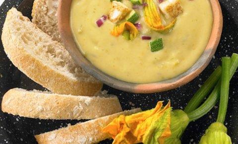 Crema de flor de calabaza y queso