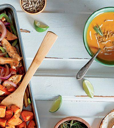 Fajitas de pavo al horno + sopa de camote rostizado