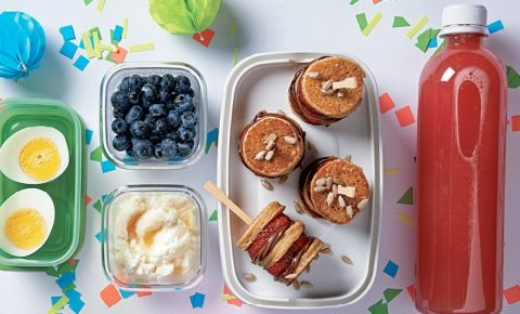 lunch box: brochetas de mini hotcakes