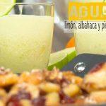 Agua de limón, albahaca y piña