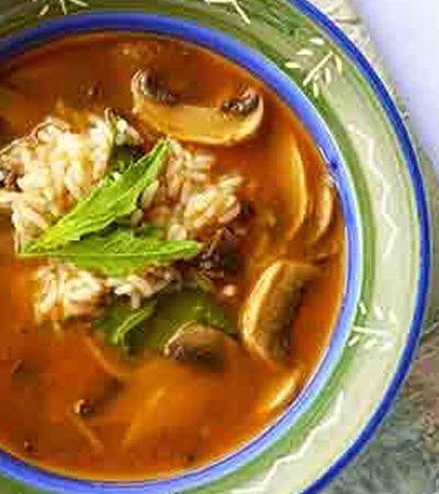 Sopa de Arroz con Champiñones