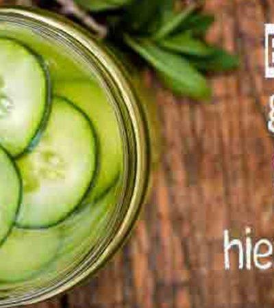Bebida de ginebra, pepino y hierbabuena