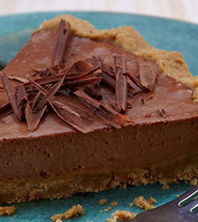 cheesecake de chocolate con costra de galleta