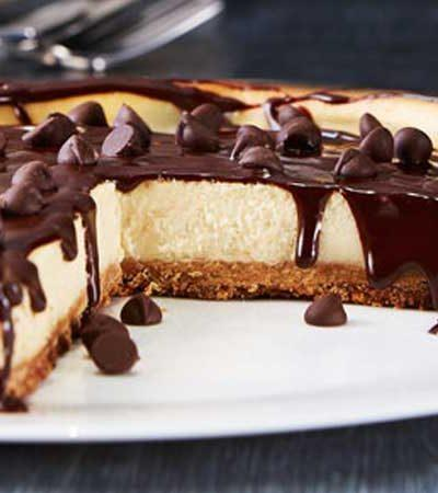 Cheesecake de plátano con chispas de chocolate