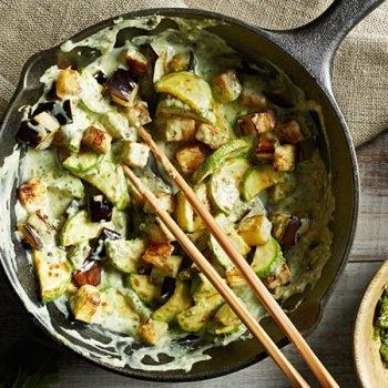 Curry verde de berenjenas y calabazas