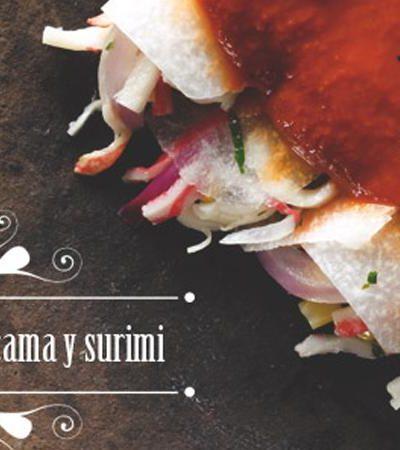 Enchiladas alternativas de jícama y surimi