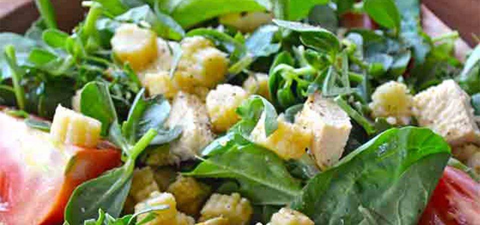 Ensalada de verdolagas y vinagreta de mango