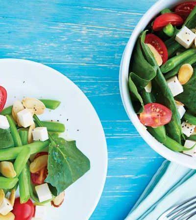 Ensalada de ejotes  y tofu con jitomates cherry