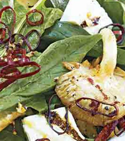 Ensalada de Espinacas con Setas y Vinagreta de Cilantro