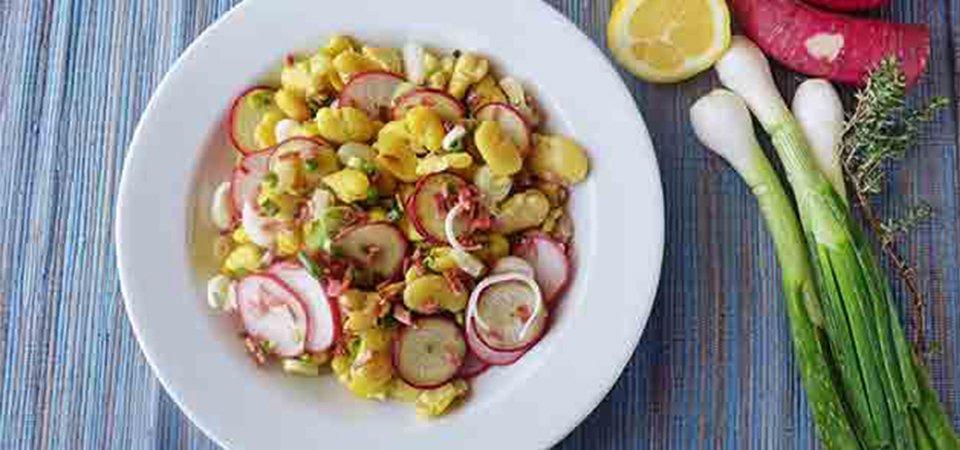 Ensalada de habas con vinagreta de limón