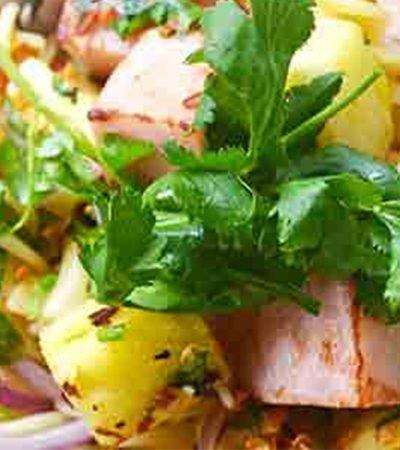 Ensalada de piña, jamón y pasta