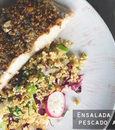 Ensalada de quinoa con pescado a la parrilla