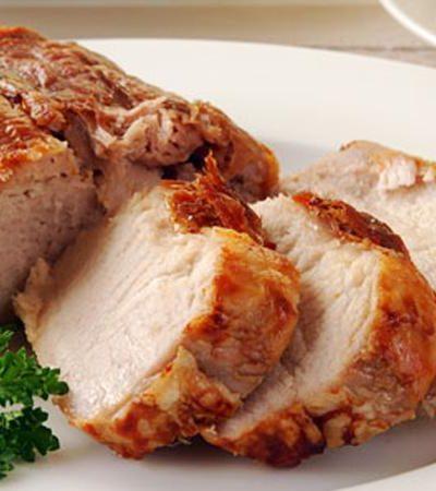 Lomo de cerdo al horno con salsa de mostaza