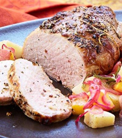 Lomo de cerdo caramelizado con miel y limón