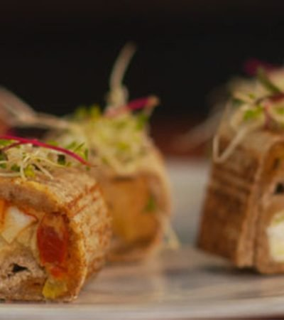 Mini rollitos estilo sushi con pan y obela