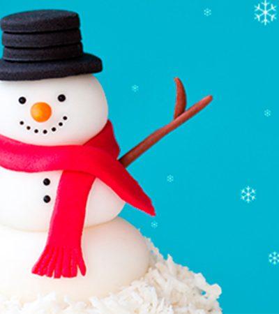 Muñecos de nieve con donas glaseadas