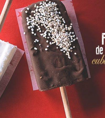 Paletas Heladas de Yogurt y Frutos Rojos Cubiertas con Chocolate
