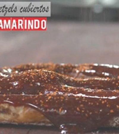Pretzels con cubierta de tamarindo